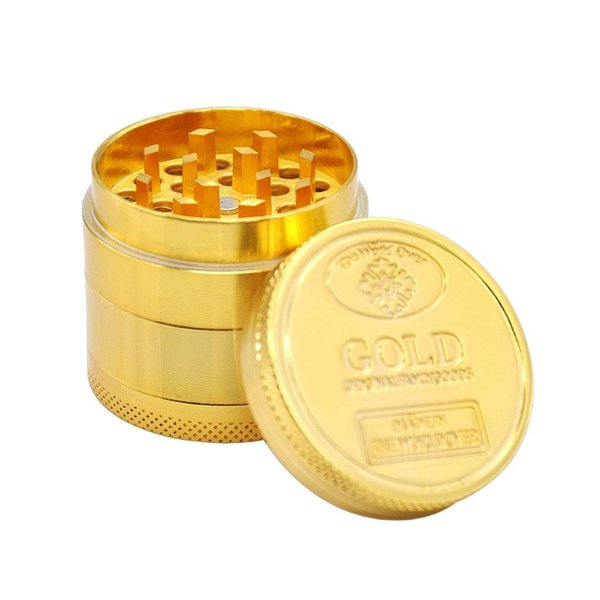 2018 Gold Herb Grinder 40*36mm Herbal Alloy Smoke Metal Smoking Herbal Smoking Grinders Cracker 50PCS TC180912