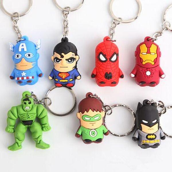 new The Avengers Captain American anime superhero spiderman batman Iron Man, Thor IRON MAN PVC keychain 3D 3-4cm figures key chain