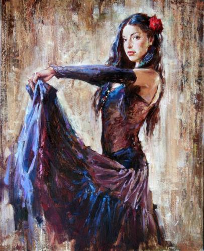 Beautiful young girl dancer in nice dress,Free Shipping,Hand-painted Impressionist Portrait Art oil painting On Canvas Multi sizes p304