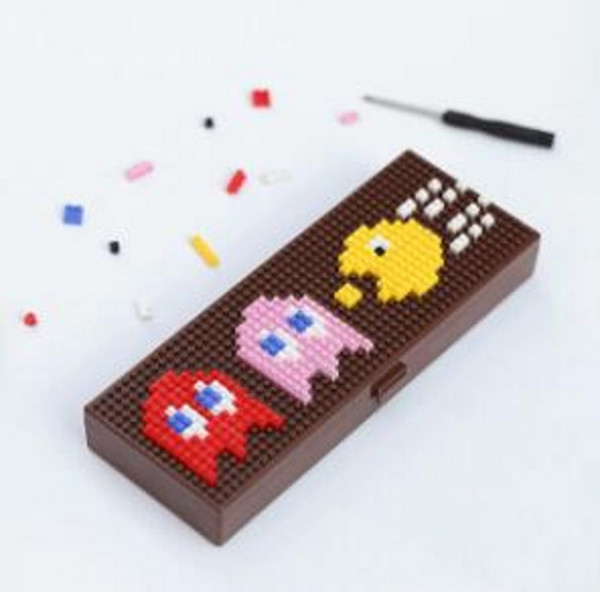 best selling Creative building blocks DTY Puzzle Cartoon Pattern ABS plastic Stationery Case Pencil Cases