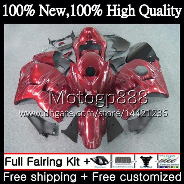 Cuerpo para SUZUKI Hayabusa GSXR1300 96 07 GSXR-1300 56PG108 Rojo plateado GSX R1300 2002 2003 2004 GSXR 1300 2005 2006 2007 Carrocería de carenado