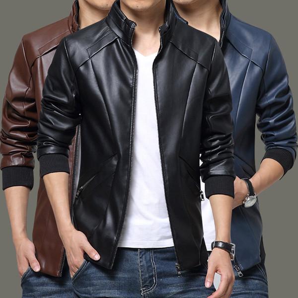 Nouveaux Vestes en cuir Hommes Automne Hiver Vêtements en cuir Vêtements Vestes en cuir Hommes Affaires Décontracté Manteaux