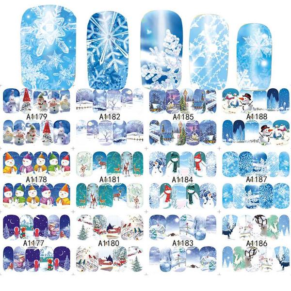 12 disegni / set buon natale pupazzo di neve acqua sticker unghie artistiche bellezza copertura completa chiodi stagnola regalo di natale SAA1177-1188