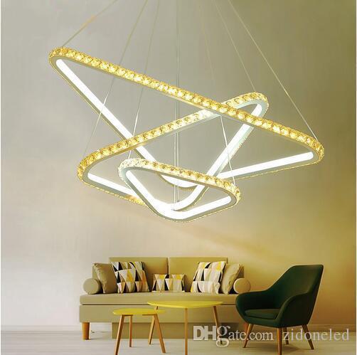 Led triangular crystal chandelier lighting lustre hanging lamp double color remote control ceiling chandelier living room bedroom restaurant