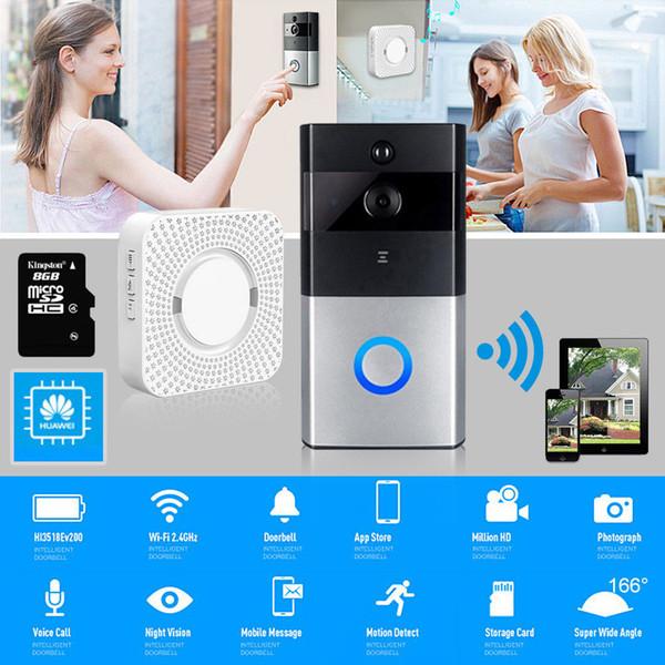 Smart Wifi Timbre HD IR Cámara de video inalámbrica remota Puerta de teléfono Sistema de seguridad Conexión WIFI APP para IOS y Android