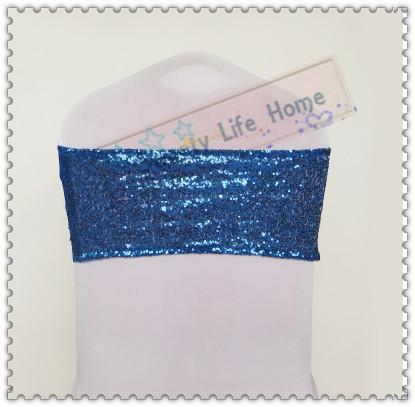 New products Nice Royal blue Sequin chair bows Free shipping Spandex with Sequin Chair Bands Wedding Elastic chair sashes Decorations