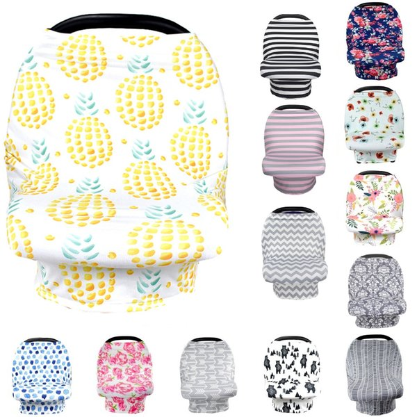 top popular 25 Colors Baby Nursing Cover breastfeeding cover Pineapple Flower print Safety seat car Privacy Cover Scarf Strollers Blanket 2021