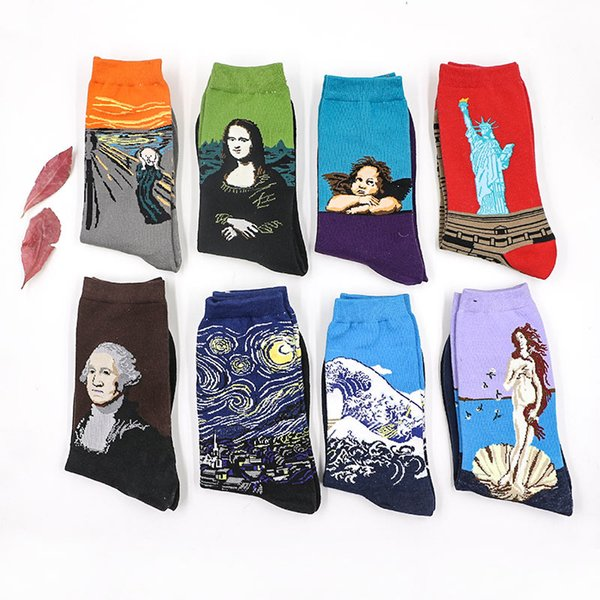 top popular Novelty Famous Oil Painting Art Socks Women's Men's Street Graffiti Van Gogh Mona Lisa Long Sock Winter Autumn Cotton socks for men 2021