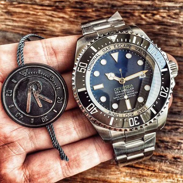 Lujo Mejor calidad AR Factory 43mm mar rojo Sea-Dweller cerámica 904l acero Swiss ETA 2824 movimiento automático reloj para hombre relojes azules