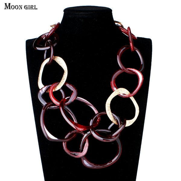whole saleMOON GIRL 2017 New Design 2 Color Resin Chain Choker Maxi Necklace Charms Fashion Jewelry Statement Long Necklace for women