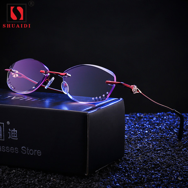 Женщины без оправы фиолетовый объектив очки для чтения женский Пресбиопические очки для читателя анти-усталость +1 +1.5 +2 +2.5 +3 +3.5 +4