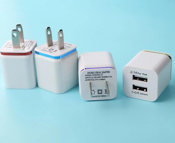 top popular Dual USB wall charger US plug 2.1A AC power dapter 2 USB wall charger for Samsung Galaxy iPhone Android Phones 2019