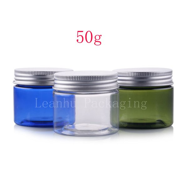 50g empty round cosmetic cream PET containers,1.7 oz colored cream jars for cosmetics packaging plastic bottles with metal lids
