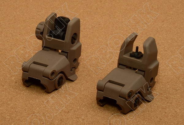 Rifle Back Up Front Rear Folding Sight for picatinny weaver rail mount base DE M5659