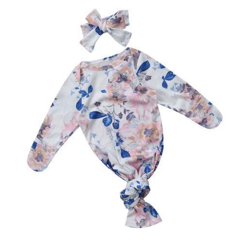 Pudcoco Newborn Infant Baby Swaddle Blanket Baby Sleeping Bag Muslin Wrap Headbands