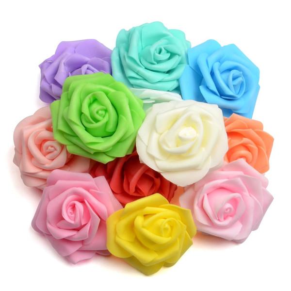 100 unids 7 cm hecho a mano de espuma artificial rosa cabeza de flores ramo de la novia festivo de la boda flores decorativas besos bola