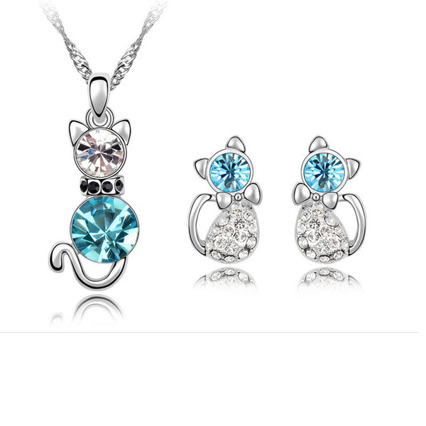 1 set Fashion new Crystal Rhinestone Austrian crystal Cat necklace Earrings Ear Studs for women 4 Color can choose