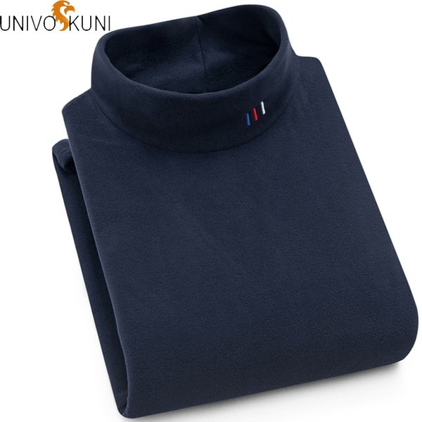 univos kuni winter thick warm sweater casual korean solid slim longsleeve turtleneck sweater cashmere pullover men q5205