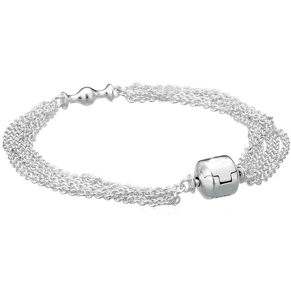 925 Sterling Silver Bracelet Multi-Strand One Clip Station Chain For Women fit Beads Charms Pendant DIY Jewelry