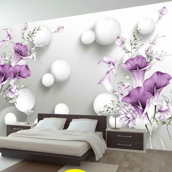 Acquista Foto Personalizzata Wallpaper 3D Stereo Circle Ball Viola Calla  Fiori Murales Camera Da Letto Moderna Soggiorno TV Sfondo Muro Dipinto A ...