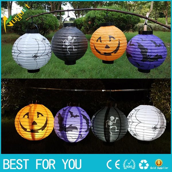 Hot Sale 2018 Halloween Party Decorations Scary Paper Lanterns LED Skeletons Hanging Round Lantern for Party Home Decor