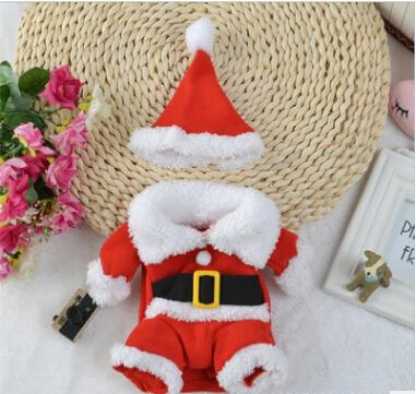 Christmas Pet Dog Costumes Christmas Dog Standing Make up Clothes Dog Cat Santa Cosplay Coats With Christmas Hat