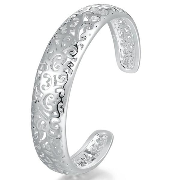 925 silver New 10 piece/lot Product Charm Handmade Folk Custom Open Adjustable Bangles Antique 925 Silver Bracelets Bangles