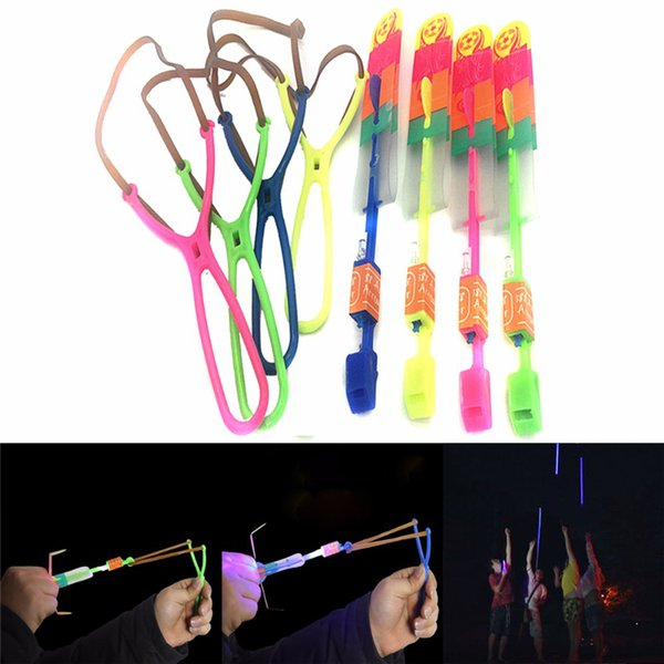 top popular Whistle LED Arrow Helicopter LED Amazing Arrow Flying Helicopter Umbrella parachute Kids Toys Space UFO led Lights Christmas Halloween Lumin 2019