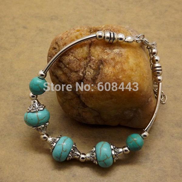 whole saleBR254 Gypsy Royal Beads Tibetan Silver Color Howlite Stone Hand Made vintage retro Bracelet Wholesale Jewelry Jewellery