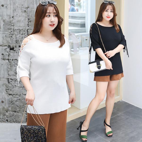 2018 осень новый большой размер женская мода плечо одежда, вязаный свитер, повседневная с коротким рукавом блузка Оптовая 7116