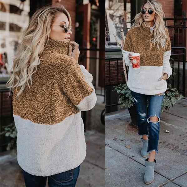 Manteau d'hiver en molleton pour femmes pulls avec capuche veste fermeture à glissière lâche avec poche manteau chaud doux pas cher automne hiver Top Wear FS5230