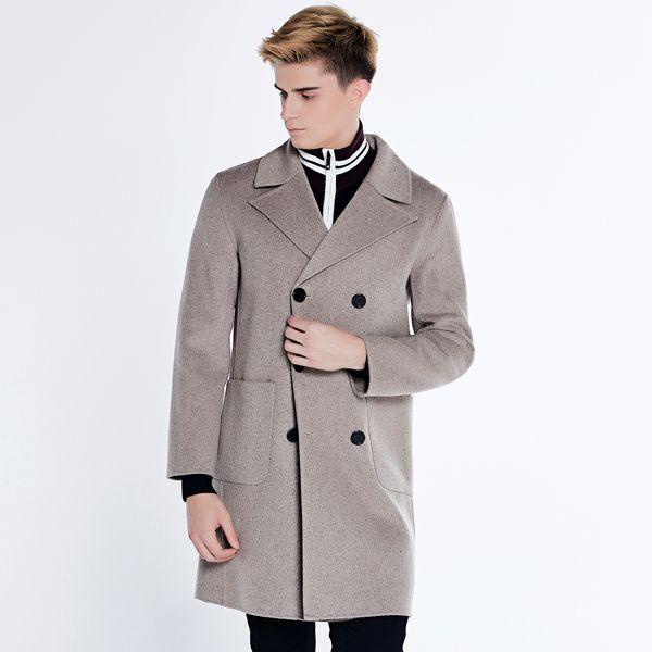 URSMART cappotto di lana double-face maschile lungo cappotto a doppio petto  di pelo di cammello uomo stile euramerican panno di lana 92016c62e4a