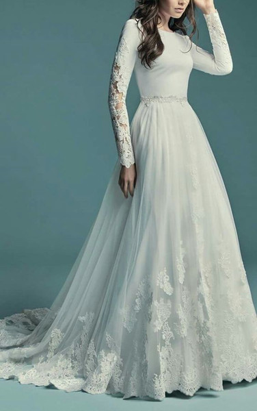 New arrival a line country mode t wedding dre with long leeve lace tulle button back coop neck religiou ld bridal gown leeved, White
