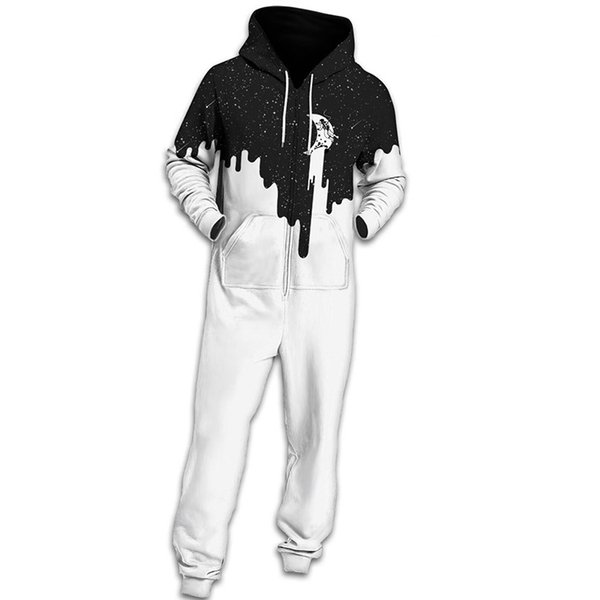 Hip Hop Men Women Galaxy Milk Space Printed Hooded Rompers White Black Patchwork Overalls One Piece Rompers Fashion Jumpsuits