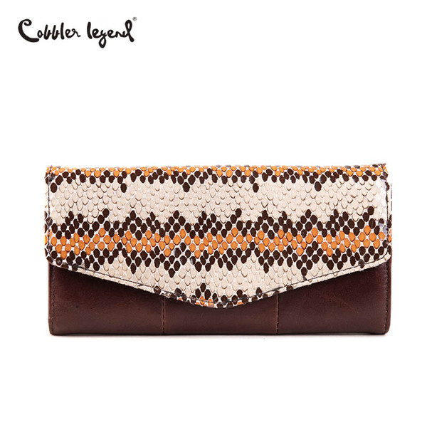 Cobbler Legend 2018 Serpentine Genuine Leather Wallet For Women Purse Clutch Bag Coin Purse Brand Patchwork Wallet Long Women