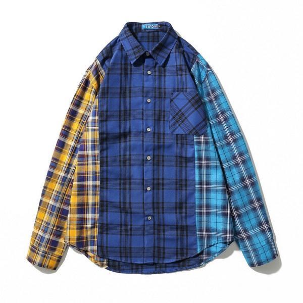 Patchwork Hip Hop camisas a cuadros para hombre vestido de manga larga camisa de la chaqueta azul a cuadros informal camisa de franela de algodón Streetwear
