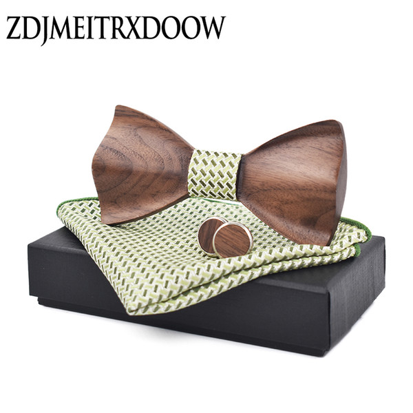 New design 3D Mens Wood Ties Suit Cufflinks Pocket Square Wooden Bow Tie Marriage Bow Ties For Men Butterfly Cravat Bow Tie M210