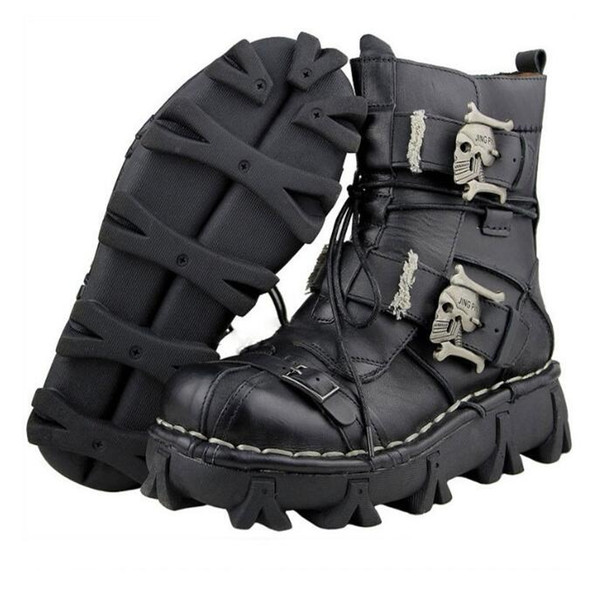 retro cowhide genuine leather men working boots safety military combat army boots gothic skull punk motorcycle martin boots male zx800