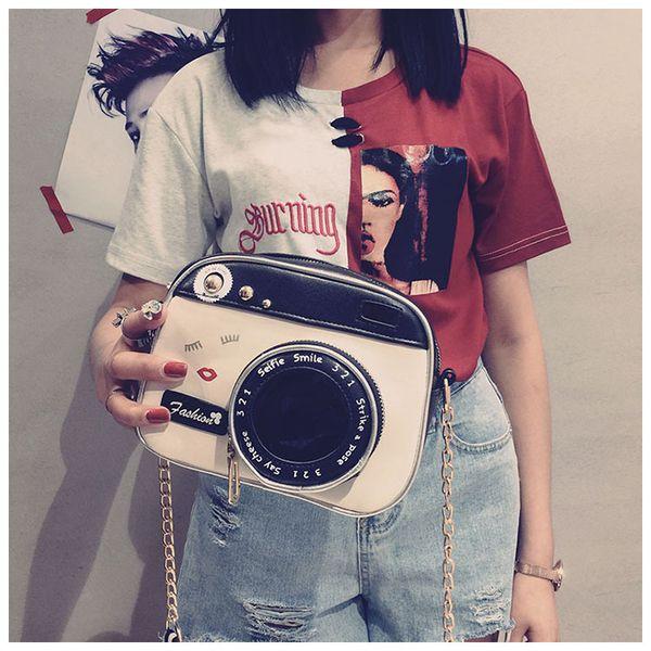 Vintage Camera PU Cosmetic Bag Ladies Shoulder Bag For Women Xmas Gift Creative Chain Cross body Bag