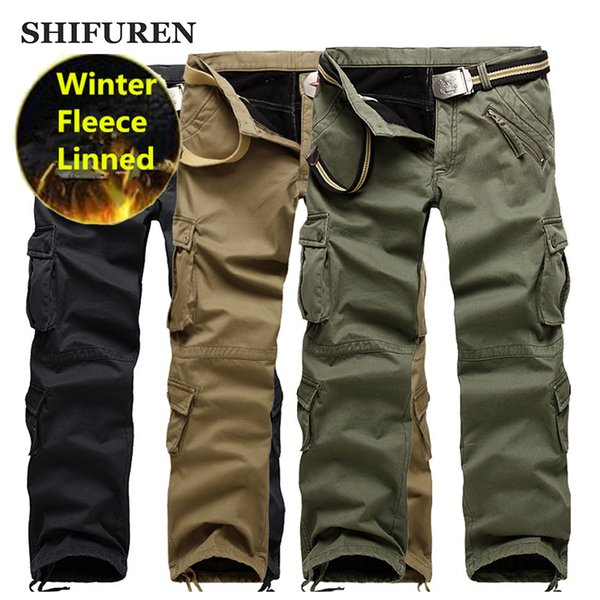 SHIFUREN Winter Warm Men Cargo Pants Thicken Fleece Double Layer Causal Baggy Trousers Multi-Pocket Plus Size 28-40