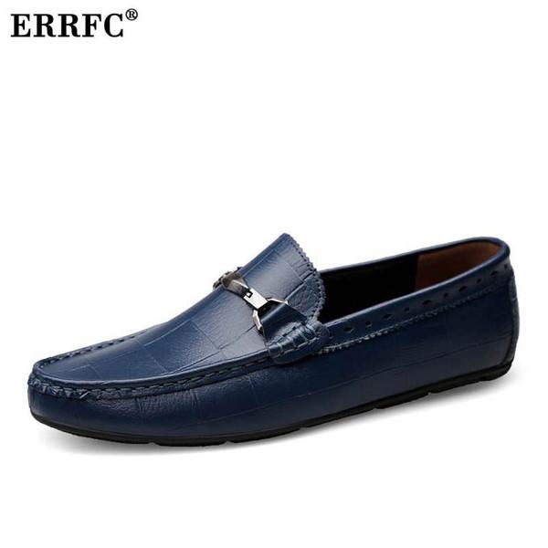 diseño atemporal 38fc8 fae1f Compre ERRFC Nuevos Hombres De La Llegada Zapatos Mocasines Azules Resbalón  Del Dedo Del Pie En Mocasín Zapatos Hombre Negro Marea Lesiure Zapatos ...