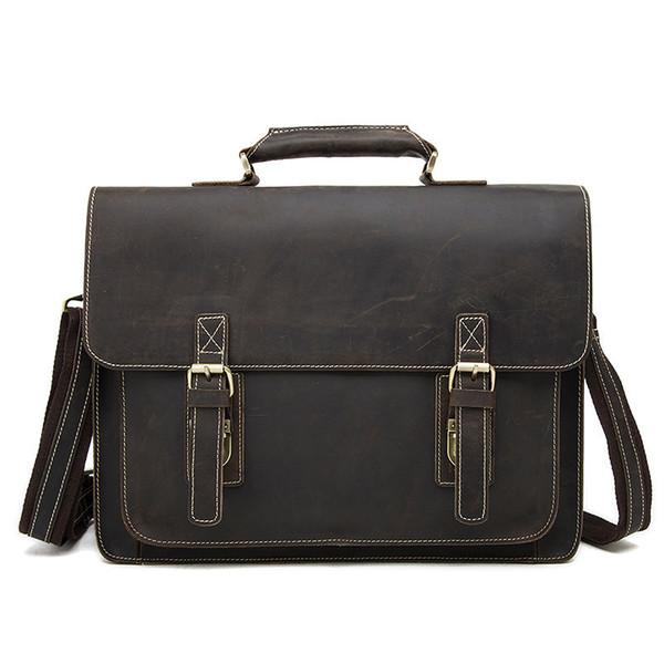 Luxury Men's Briefcase Genuine cowhide Leather Men Bag Business Leather Briefcase Men fashion retro Laptop Bag Shoulder Bags