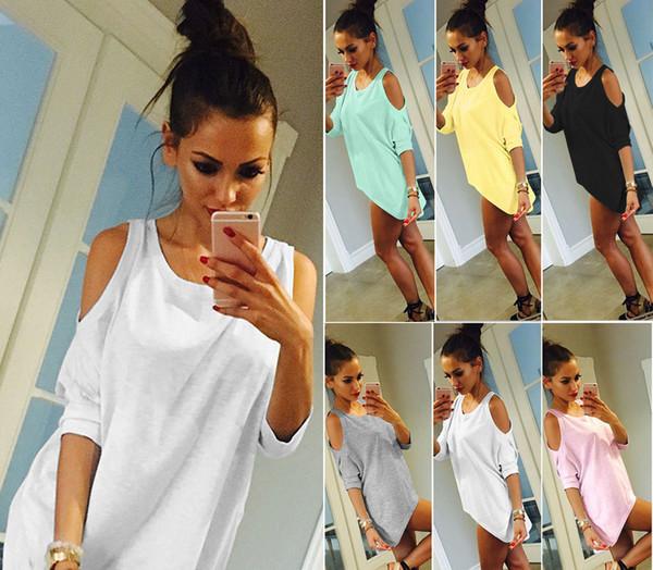 7 Colors Womens Off Shoulder Loose Shirt Fashion Ladies Summer Casual Blouse Top Shirt 2pcs Wholesale
