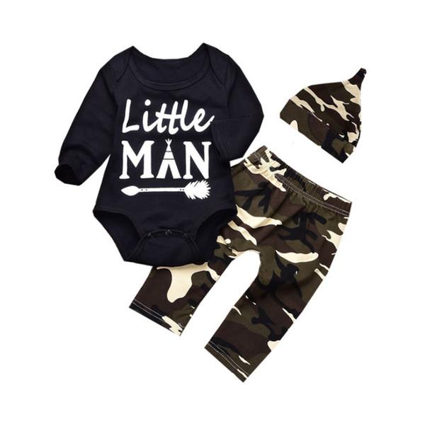 2018 Moda bebê menino roupas 3 peças conjuntos Top bodysuits + calça + Chapéu Outono Inverno bebê manga longa criança romper ternos