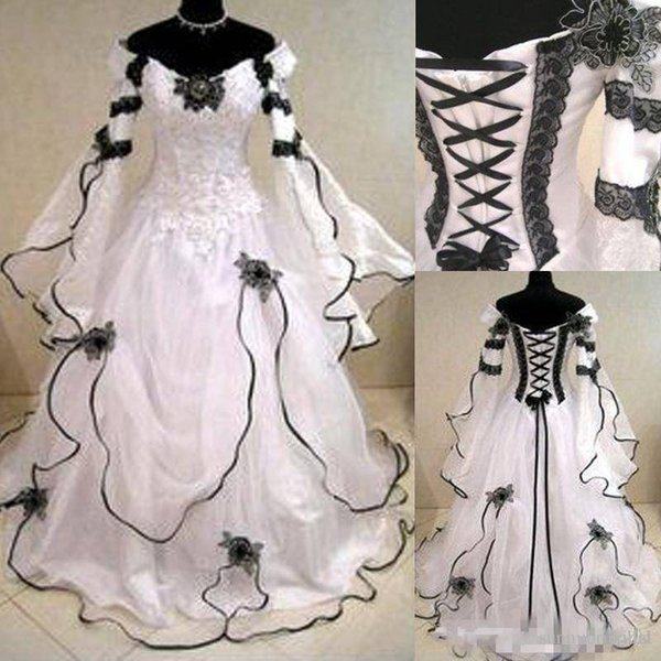 Vintage White and Black Gothic Wedding Dresses Long Sleeves Black Lace Corset Back Sweep Train A Line Bridal Gowns For Country Garden