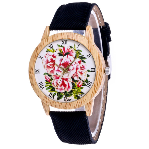 GENBOLI 1PC Simple Bracelet Watches Women Clock Ladies Dress Wristwatches Leather Strap Flower Pattern Dial Watch