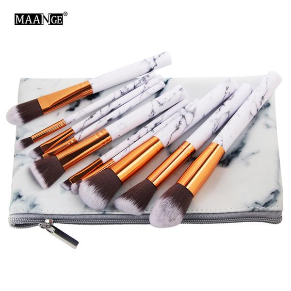 10Pcs/Set Marbling Makeup Brushes Kit Marble Pattern PU Brush Bag Powder Contour Eye Shadow Beauty Make Up Brush Cosmetic Tools
