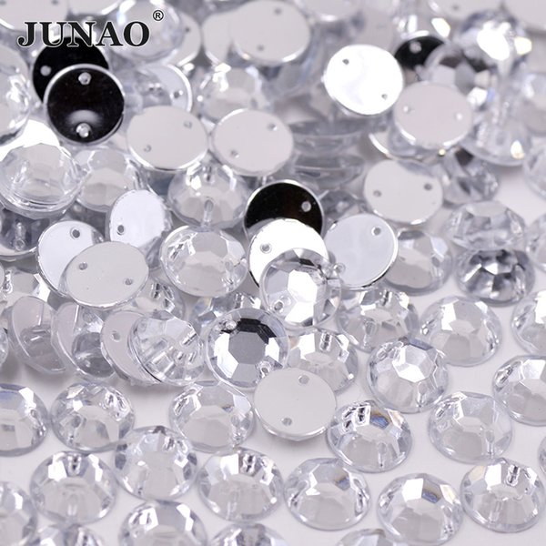 JUNAO 4 5 6 8 10 mm Sewing Clear White Crystal Rhinestones Flatback Round Strass Sew On Acrylic Crystals Stones For DIY Clothes