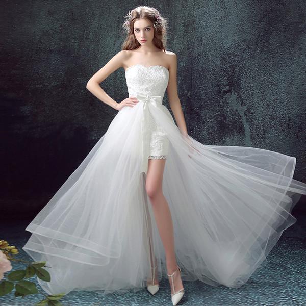 Lace Organza Praia Vestidos De Casamento Querida Decote Alta Baixa Vestidos De Casamento Novos Vestidos De Noiva Sweep Trem