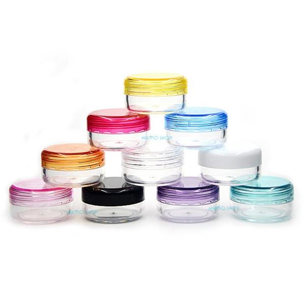 10 unids 3g Mezclar 10 Colores Ronda Pequeña Muestra de Plástico Mini Frascos de Botellas Vial Cosmético Contenedor Vacío Portátil